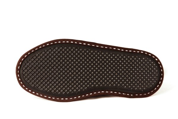 Дамски домашни чехли от естествена кожа - керемидено червен напалан