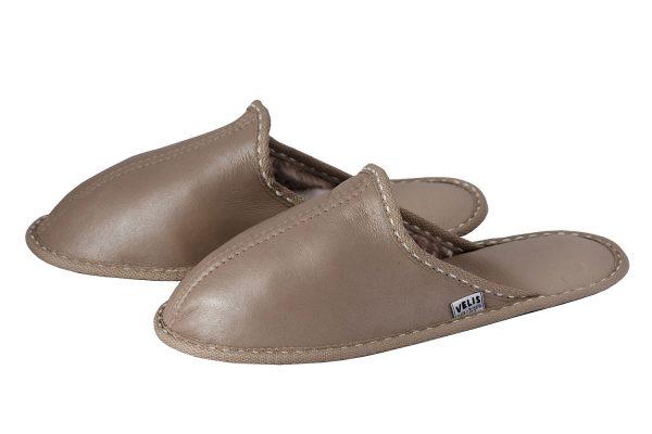 Дамски домашни чехли от естествена кожа - напалан, перла