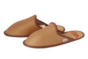 Дамски домашни чехли от естествена кожа - охра