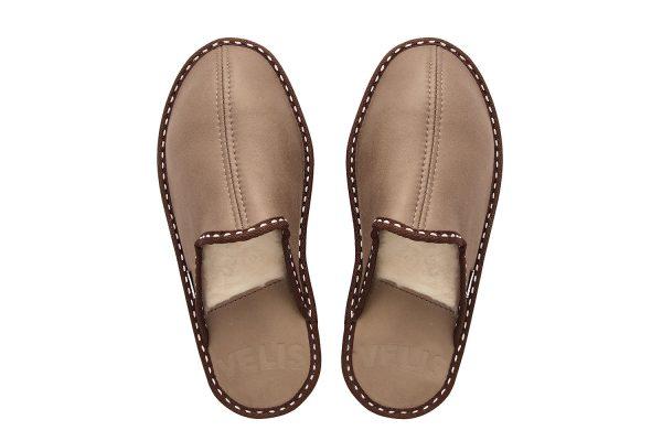Мъжки домашни чехли от естествена кожа - кафяв напалан