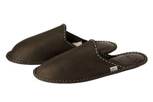 Men's house slippers made of genuine leather - Dark Green nappalan