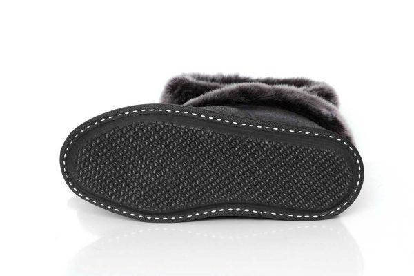 Мъжки домашни пантофи от естествена кожа - черен напалан